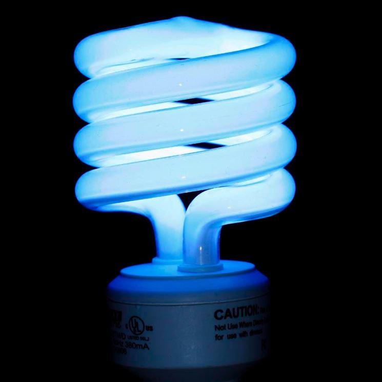 Un modello di lampadina fluorescente