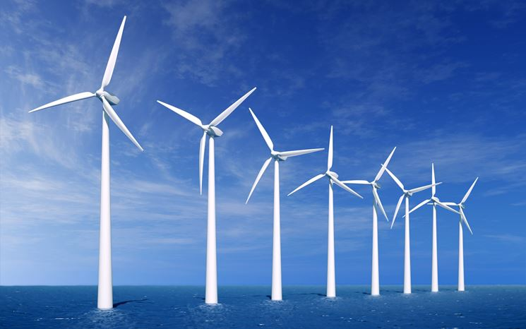 Una serie di turbini eolici