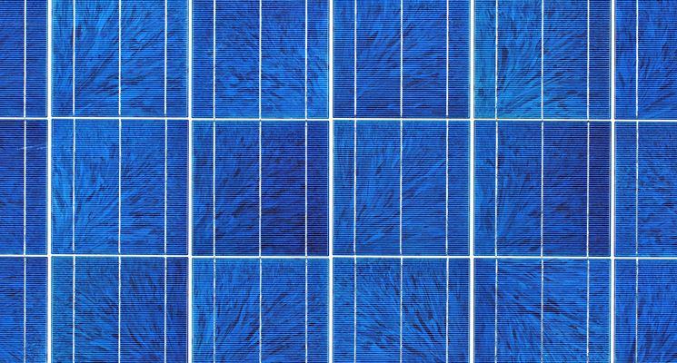 Pannello solare policristallino, con la caratteristica venatura azzurrina