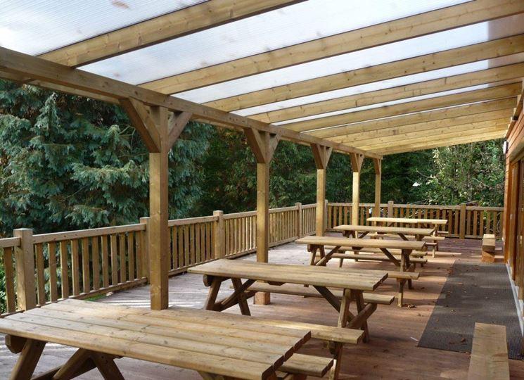 Veranda in legno classica