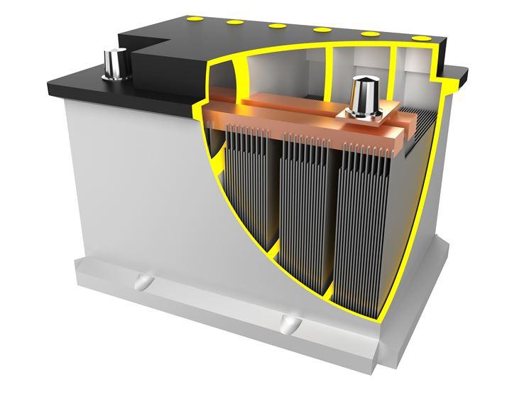 L'interno di una batteria per auto