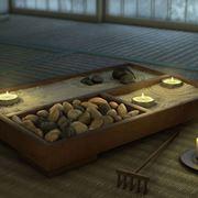 Giardino zen con sabbia e sassi