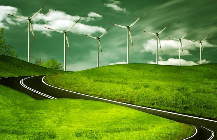 Strada verde impianto eolico