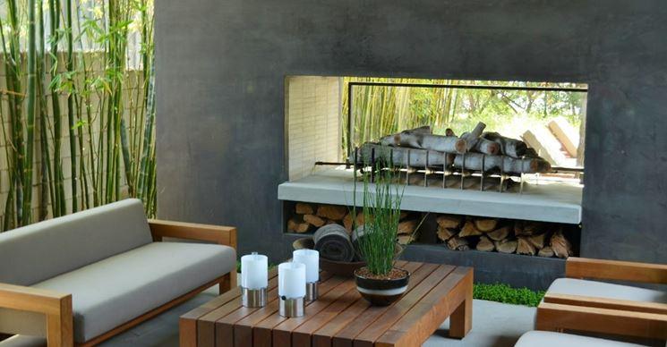 caminetto da esterno moderno