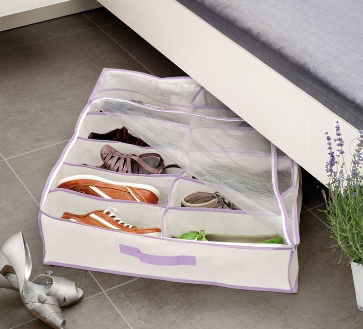 Contenitore sotto letto per scarpe