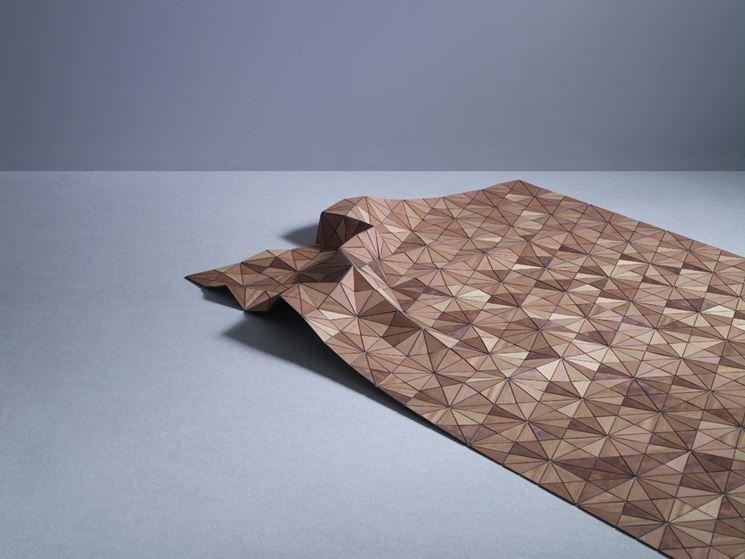 Tappeto in legno a mosaico