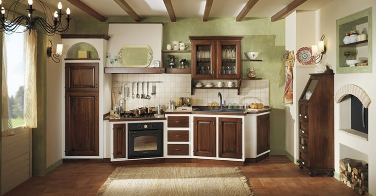 Cucine in muratura e ante in legno