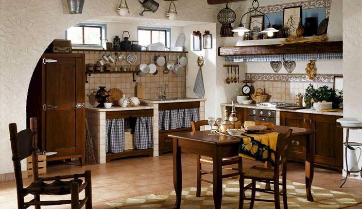 Cucine rustiche in muratura e mattonelle di ceramiche