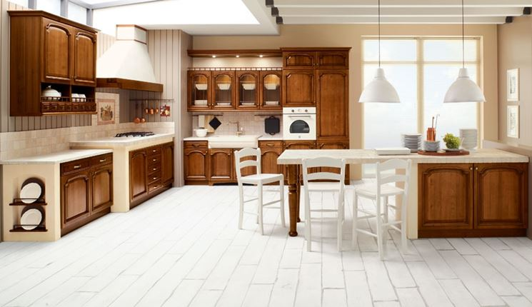 Cucine in muratura rustiche con intonaco e mattonelle