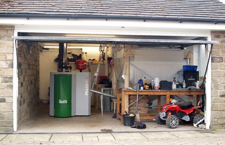 Modello di caldaia in garage