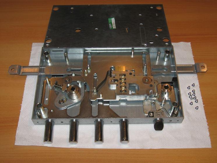 Una serratura con meccanismo a cilindro europeo