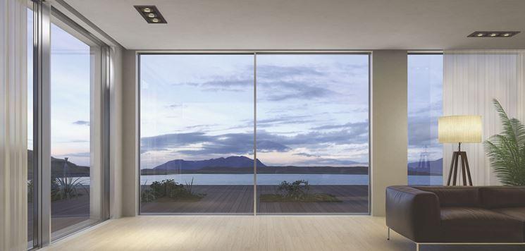 Finestre panoramiche scorrevoli in alluminio