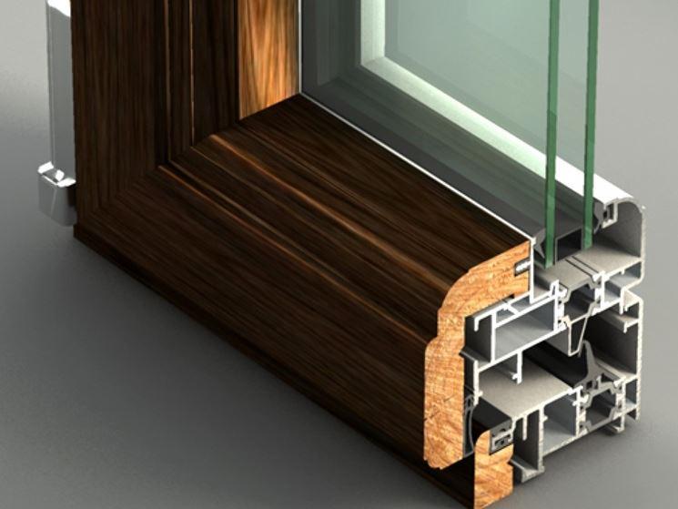 sezione infisso legno alluminio