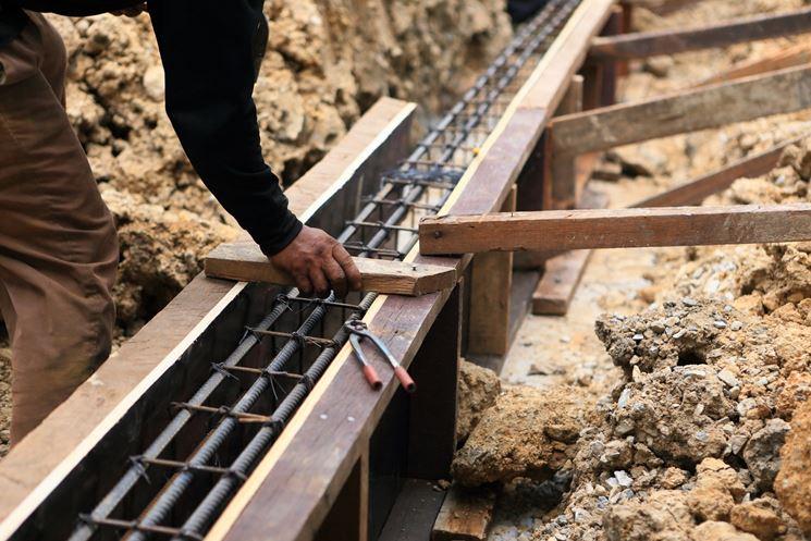 Le fondazioni per la costruzione muro