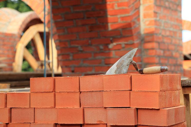 La posa dei mattoni per la costruzione muro