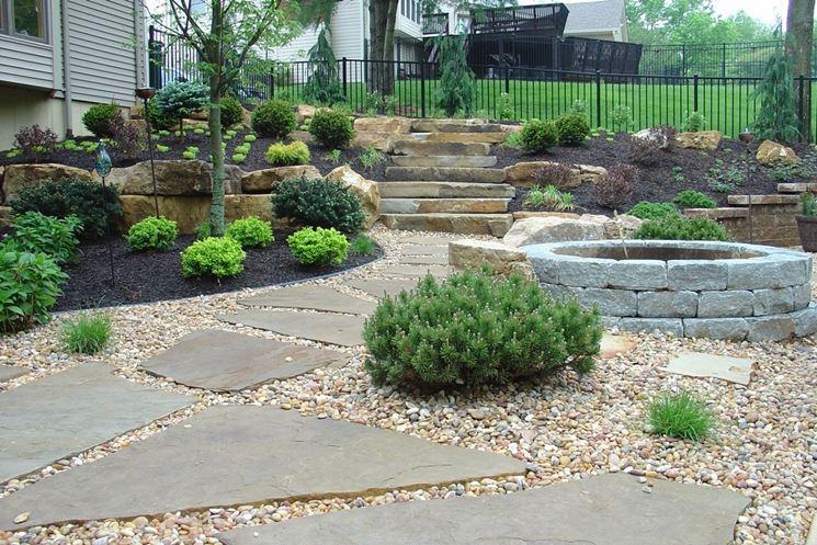 esempio di piastrelle da giardino in pietra
