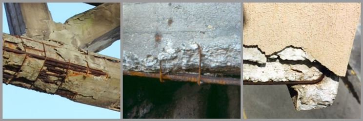 Cemento armato danneggiato dagli agenti atmosferici