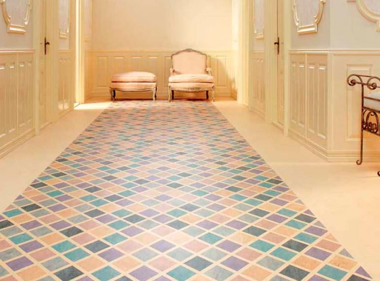 Pavimento linoleum decorato