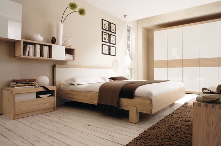 Camera da letto minimale moderna in legno