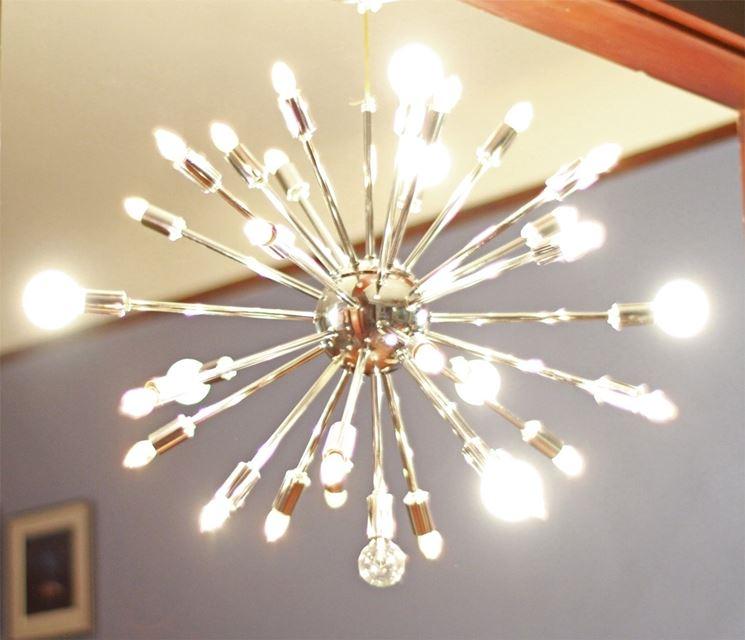 lampadario moderno con molte luci