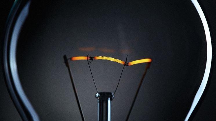 Dettagli del filamento di una lampadina a incandescenza