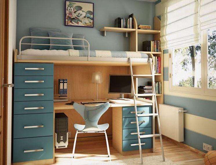 Cameretta con soppalco e scrivania