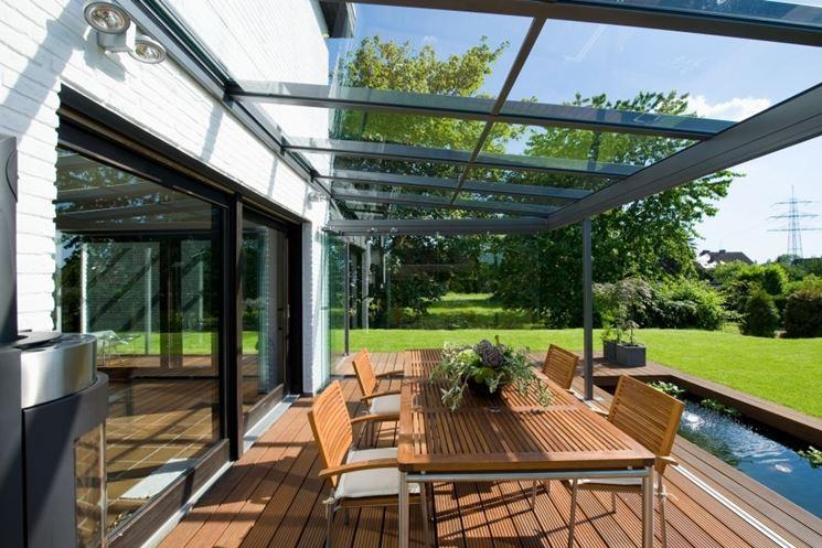 Veranda in alluminio e vetro