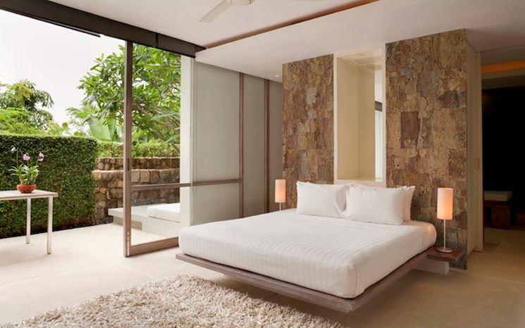 Camera da letto con sughero rustico