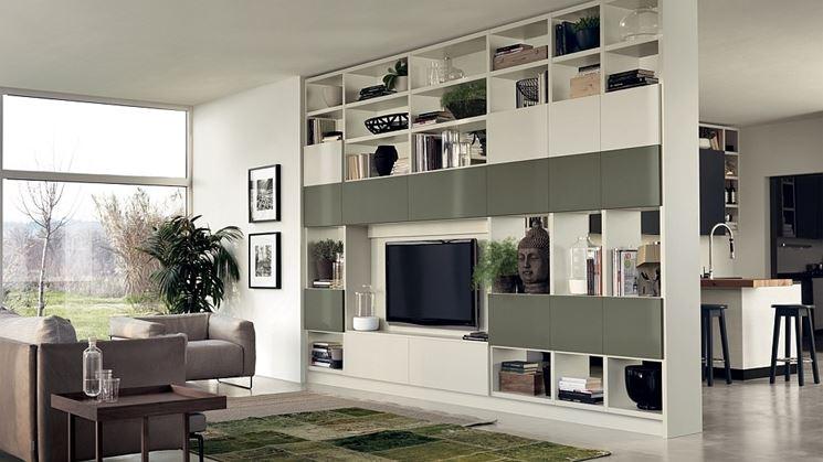 Soggiorno creativo ripiani pareti divisorie Camera scaffalature di ...